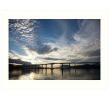 skyscapes #53, lightshow over the Tasman Bridge Art Print