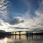 skyscapes #53, lightshow over the Tasman Bridge by stickelsimages