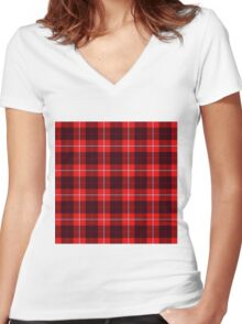 TARTAN-RED Women's Fitted V-Neck T-Shirt