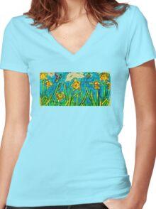 Sunlit Summer Field Women's Fitted V-Neck T-Shirt