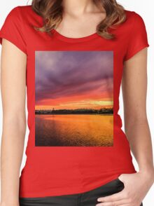 Colorful Sunset in Boston, Ma Women's Fitted Scoop T-Shirt