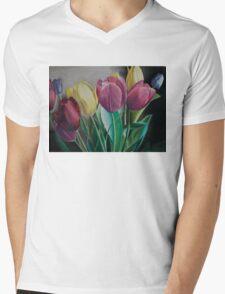 Rainbow of Tulips Mens V-Neck T-Shirt