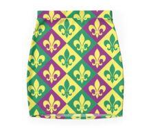 Green, Yellow, Purple Mardis Gras Fleur de Lis Mini Skirt