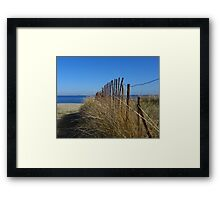 Fence and Dune Grass Framed Print