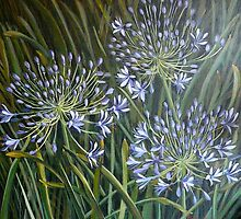Blue agapanthus. Elizabeth Moore Golding 2006 Acrylic on canvas 61x61cms by Elizabeth Moore Golding