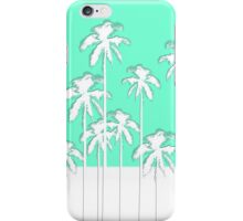 Summer Aqua Teal & White Tropical Palm Trees iPhone Case/Skin