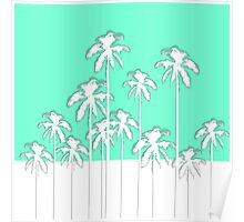 Summer Aqua Teal & White Tropical Palm Trees Poster