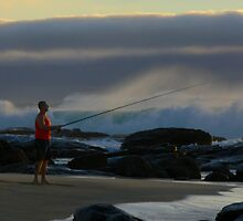 Fishing on the beach Margaret River Western Australia by Reza2111