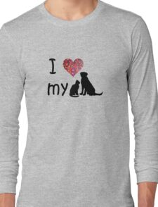 I heart my dog & cat Long Sleeve T-Shirt