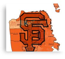 San Francisco Giants Map Canvas Print