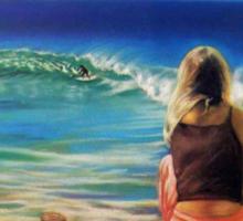 Surfing at Byron t-shirt Sticker