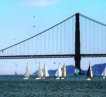 Golden Gate Bridge and Sailboats by Igor Pozdnyakov