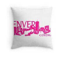 Denver Colorado pink artistic skyline Throw Pillow