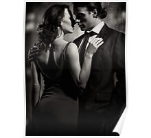 Couple kissing in front of window Black and white art photo print Poster