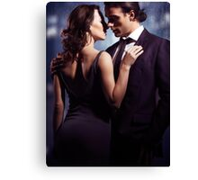 Couple kissing in front of window art photo print Canvas Print