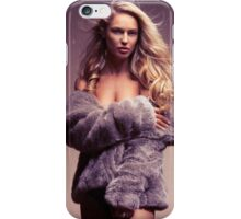 Glamour photo of beautiful woman in fur coat over naked body art photo print iPhone Case/Skin