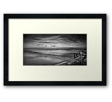 Driftwood in dramatic panoramic sunset scenery over lake Huron Black and white art photo print Framed Print