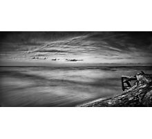 Driftwood in dramatic panoramic sunset scenery over lake Huron Black and white art photo print Photographic Print