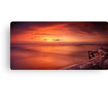 Driftwood in dark red dramatic sunset panoramic scenery over lake Huron art photo print Canvas Print