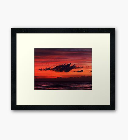 Dark dramatic clouds backlit by beautiful red sunset sky art photo print Framed Print