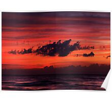 Dark dramatic clouds backlit by beautiful red sunset sky art photo print Poster