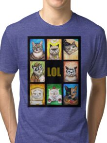 LOL Cats with Moustaches Tri-blend T-Shirt