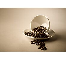 Cup and Coffee Beans Photographic Print