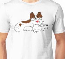 Laying Papillon - Red Unisex T-Shirt