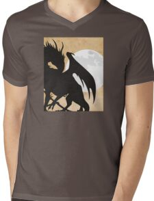 Tolkien - Smaug - Dragon against the Moon Mens V-Neck T-Shirt