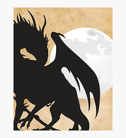 Tolkien - Smaug - Dragon against the Moon Photographic Print