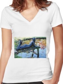 Lady in waiting.  Tauranga  New Zealand Women's Fitted V-Neck T-Shirt