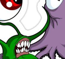 Alien Octopus Knife Fight! Sticker