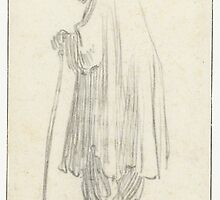 Drawing - Standing Man with a Stick and a high Cap, Rembrandt Harmensz. van Rijn, 1629 - 1630  by wetdryvac