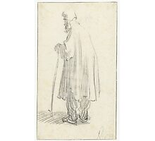 Drawing - Standing Man with a Stick and a high Cap, Rembrandt Harmensz. van Rijn, 1629 - 1630  Photographic Print