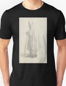 Drawing - Standing Man with a Stick and a high Cap, Rembrandt Harmensz. van Rijn, 1629 - 1630  T-Shirt