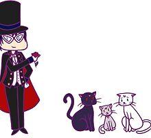 Tuxedo Mask + Cats Stickers by Jarino