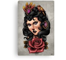 Lady with rose Canvas Print