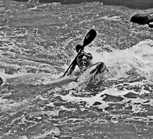Kayaker in Black and White 2 by Peggy Berger