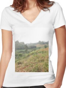 a historic Cameroon landscape Women's Fitted V-Neck T-Shirt