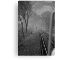 Mist and rail track Canvas Print