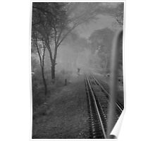Mist and rail track Poster