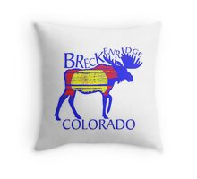 Colorful Breckenridge Colorado woodcut moose Throw Pillow