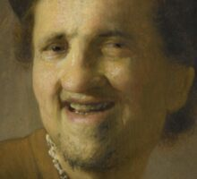 Painting - Bust of a laughing young man, circle of Rembrandt Harmensz. van Rijn, c. 1629 - c. 1630  Sticker