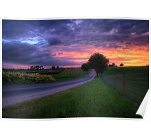 Sunset on a Country Road Poster