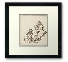 Drawing - One of the three Kings adoring Mary and the Child, Rembrandt Harmensz. van Rijn, 1635 - 1639  Framed Print
