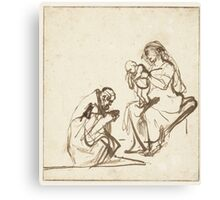 Drawing - One of the three Kings adoring Mary and the Child, Rembrandt Harmensz. van Rijn, 1635 - 1639  Canvas Print
