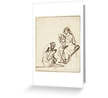 Drawing - One of the three Kings adoring Mary and the Child, Rembrandt Harmensz. van Rijn, 1635 - 1639  Greeting Card