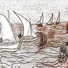 Fishing Boats at Sea by mysteryfaith