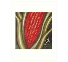 Hopi Corn for Four Directions - Red Corn - South Art Print