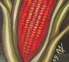 Hopi Corn for Four Directions - Red Corn - South by margaret walsh